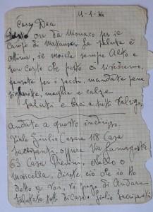 Ultimo biglietto di Valrigo Mariani scritto nel viaggio fra Dachau e Mauthausen